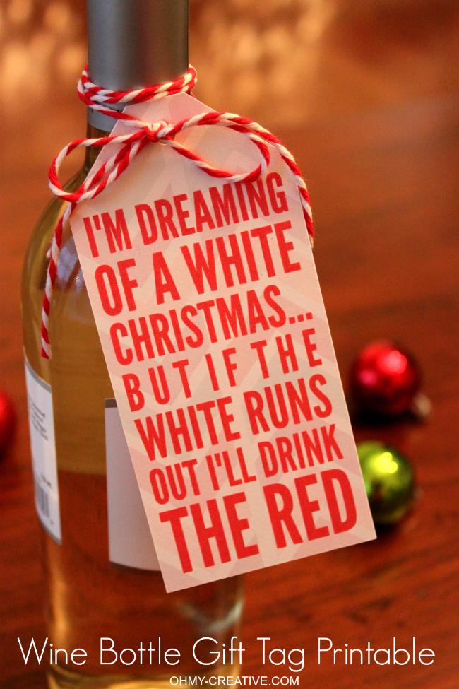 Free printable Christmas wine gift tag
