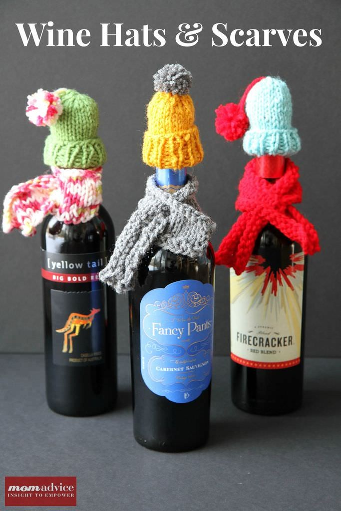 Wine Bottle knitted hats and scarves tutorial