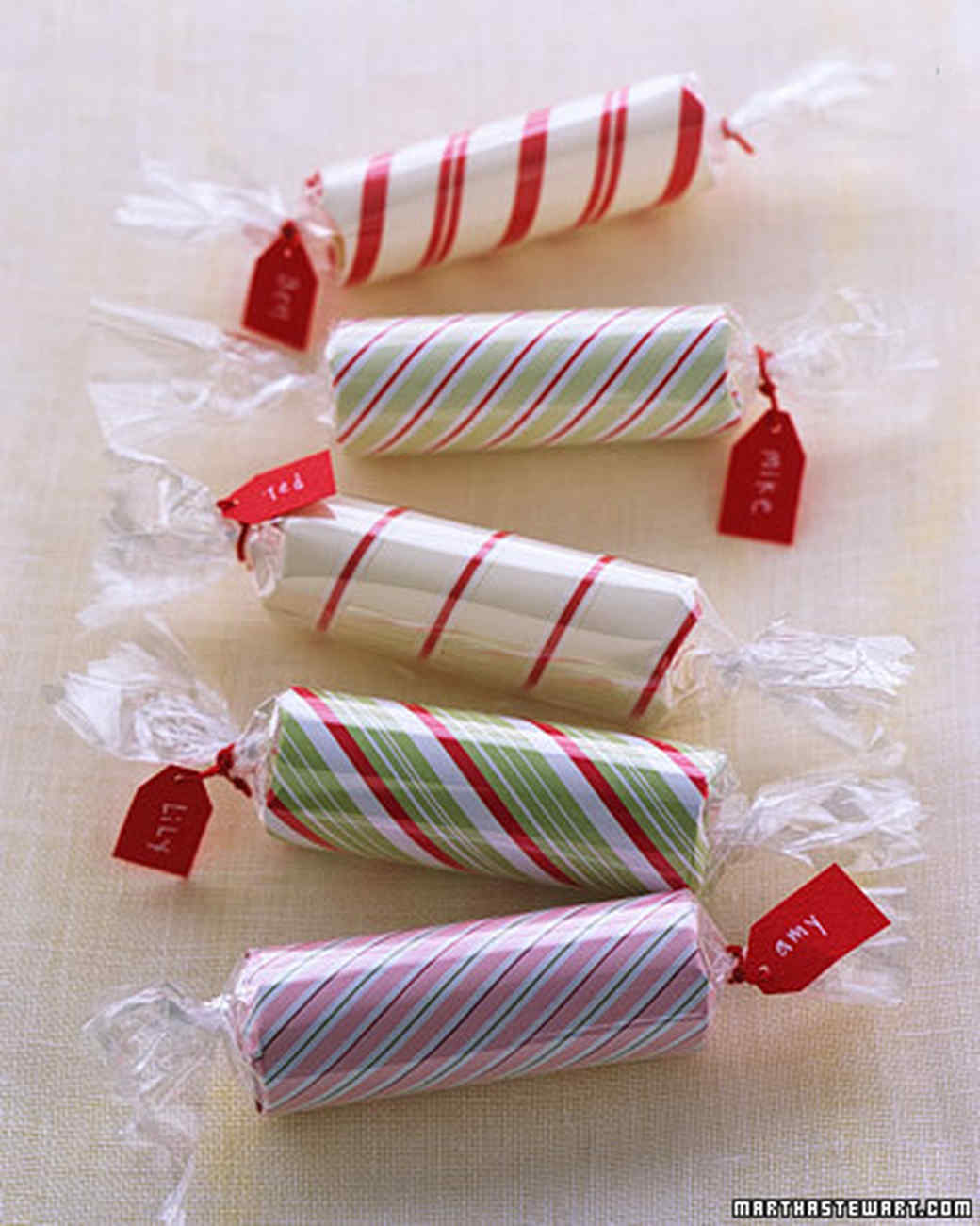rolls of coins wrapped like candy for stocking stuffers