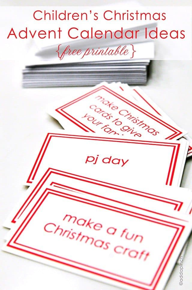 printable activity advent calendar