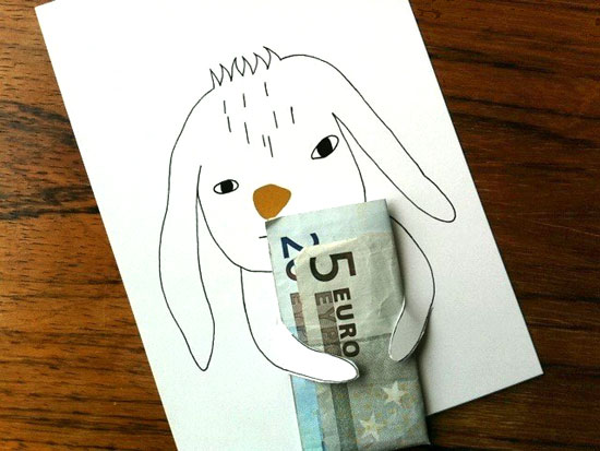 bunny holding money DIY card to give cash as a gift