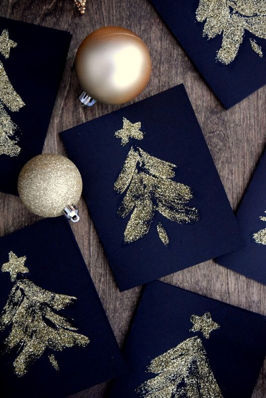 Glittery, easy DIY Christmas tree cards