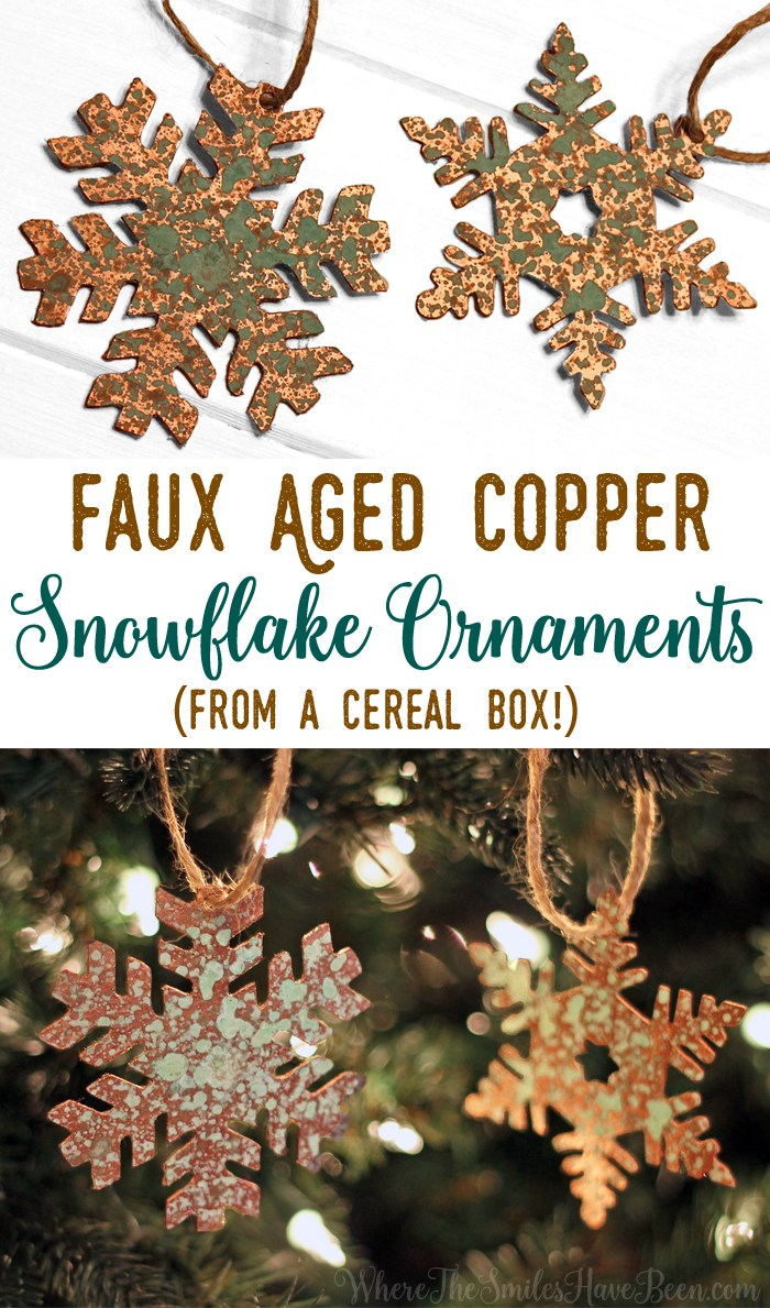 faux aged copper Christmas ornament out of cardboard