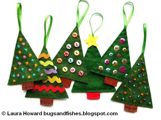 felt christmas tree ornament tutorial and pattern