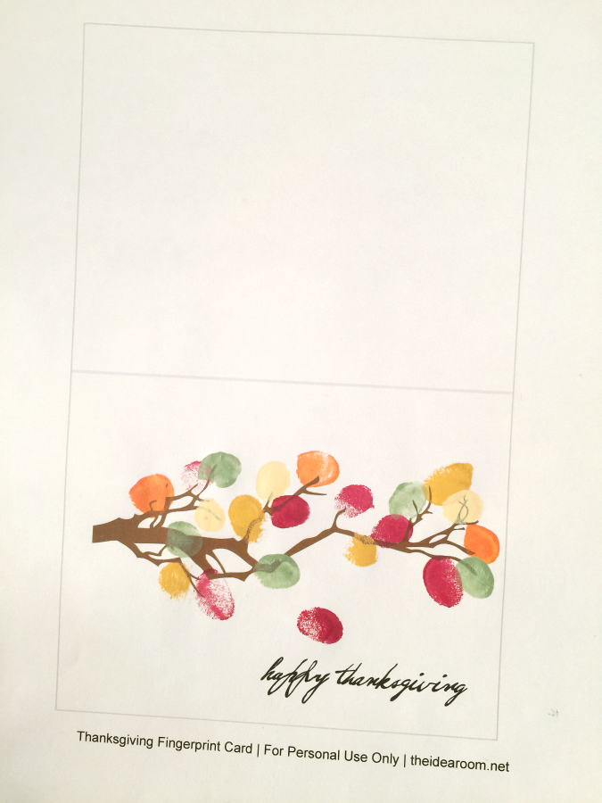 DIY printable Thanksgiving fingerprint Family Tree art or card