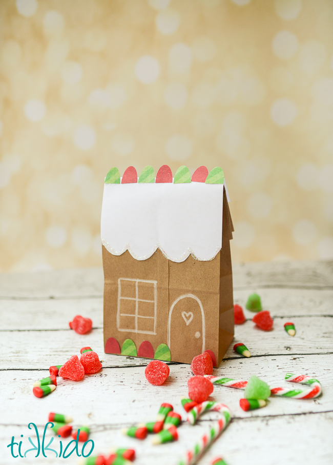 gingerbread house brown paper bag tutorial