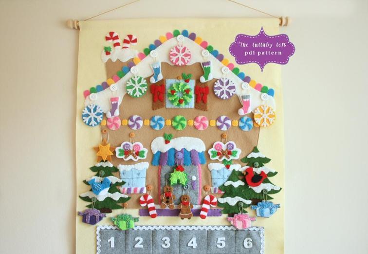 felt gingerbread house advent calendar