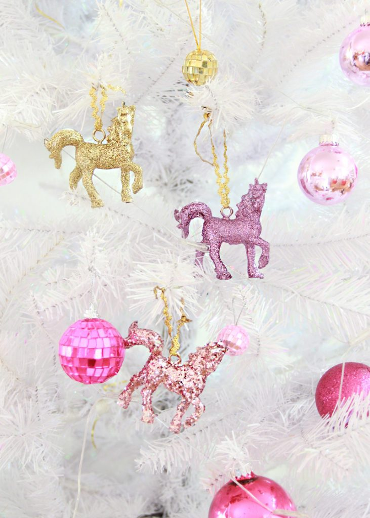 Glitter covered unicorn Christmas ornament tutorial