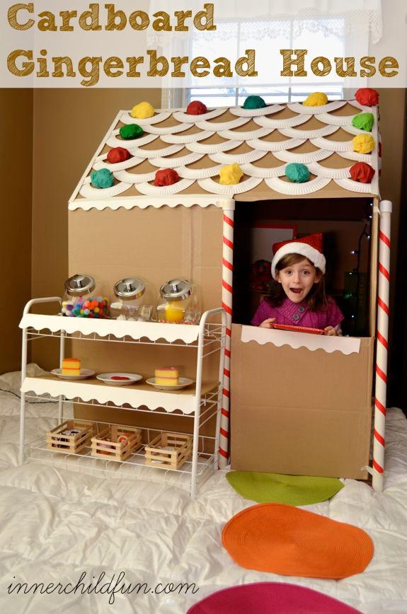 life sized cardboard gingerbread house tutorial