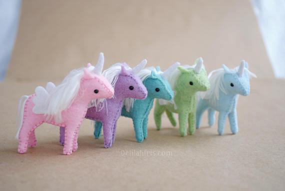 Miniature stuffed felt unicorn Christmas ornaments