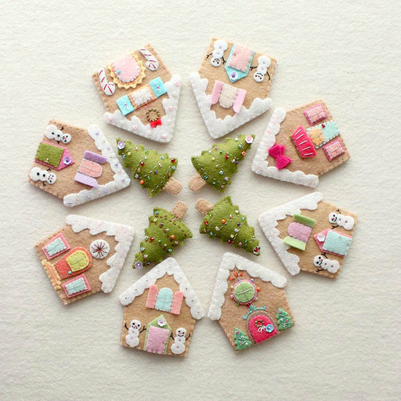 Felt Christmas gingerbread house pattern