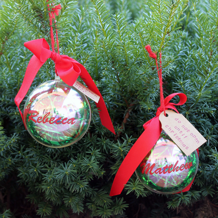 Christmas ornaments with cash hidden inside tutorial