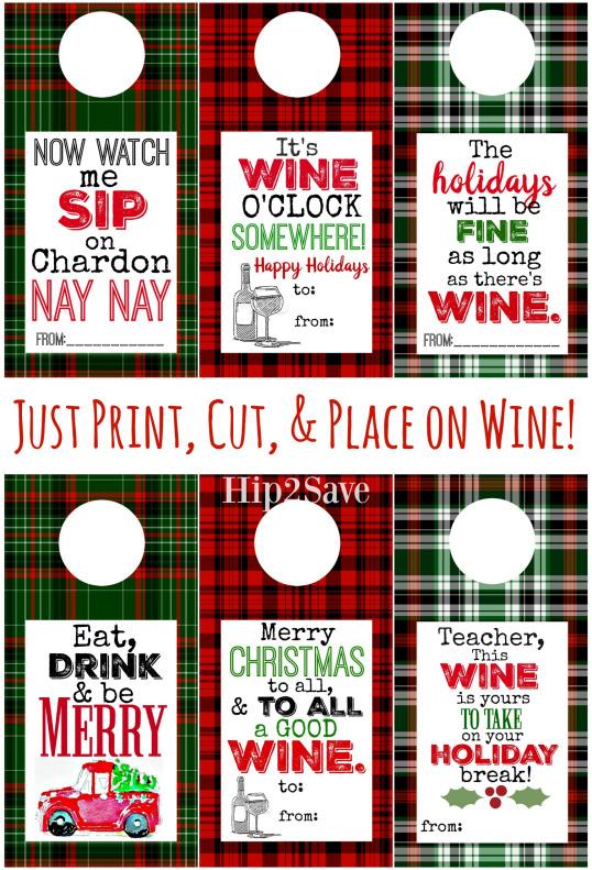 plaid printable wine gift tag for Christmas