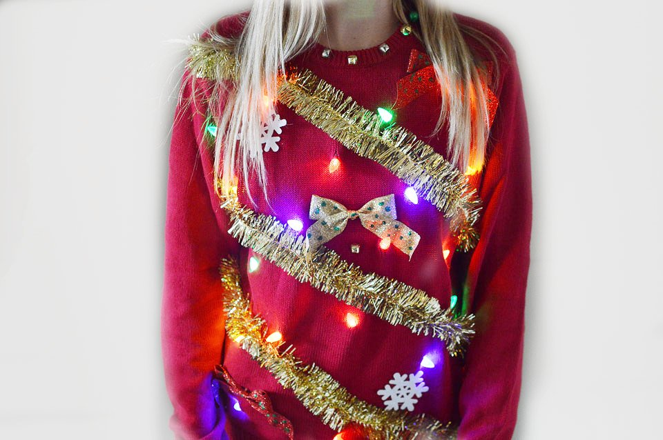 DIY light up ugly Christmas sweater tutorial