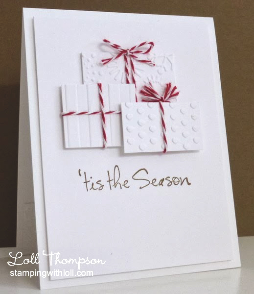 monochromatic embossed Christmas gifts Christmas card