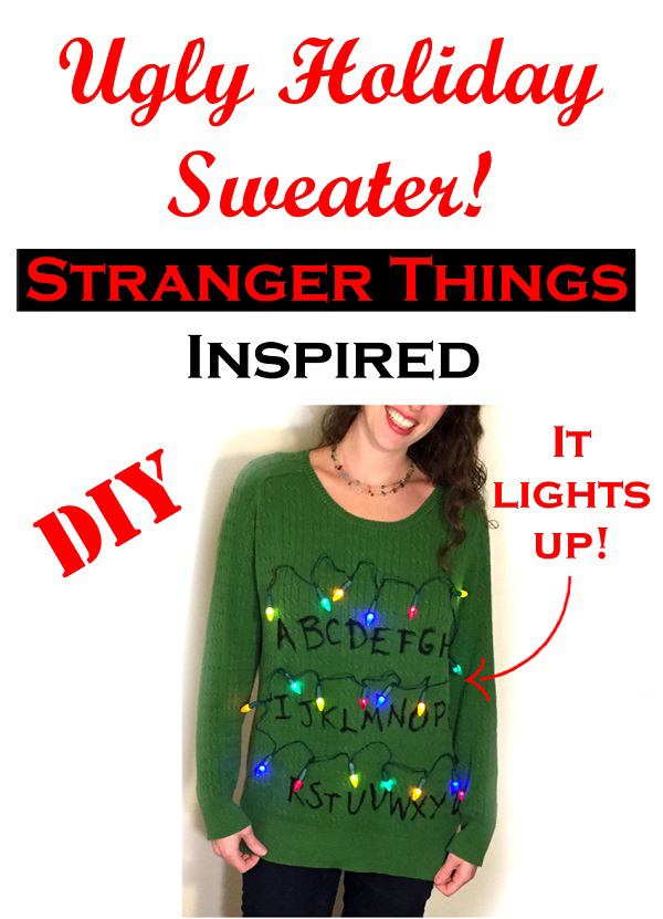 DIY Stranger Things inspired ugly Christmas sweater. It lights up!