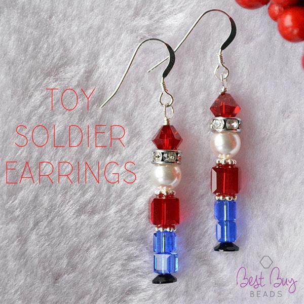 Toy soldier nutcracker beaded earrings tutorial