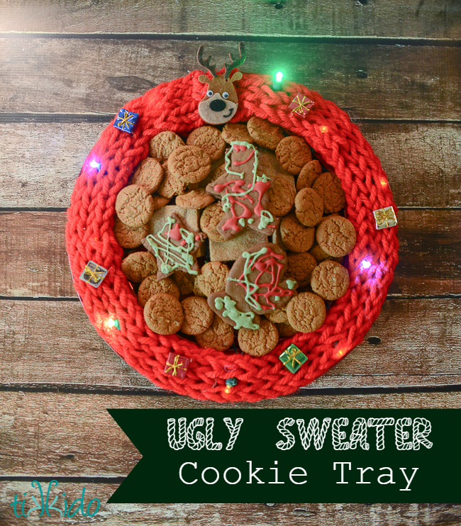 Light up ugly sweater Christmas cookie tray tutorial