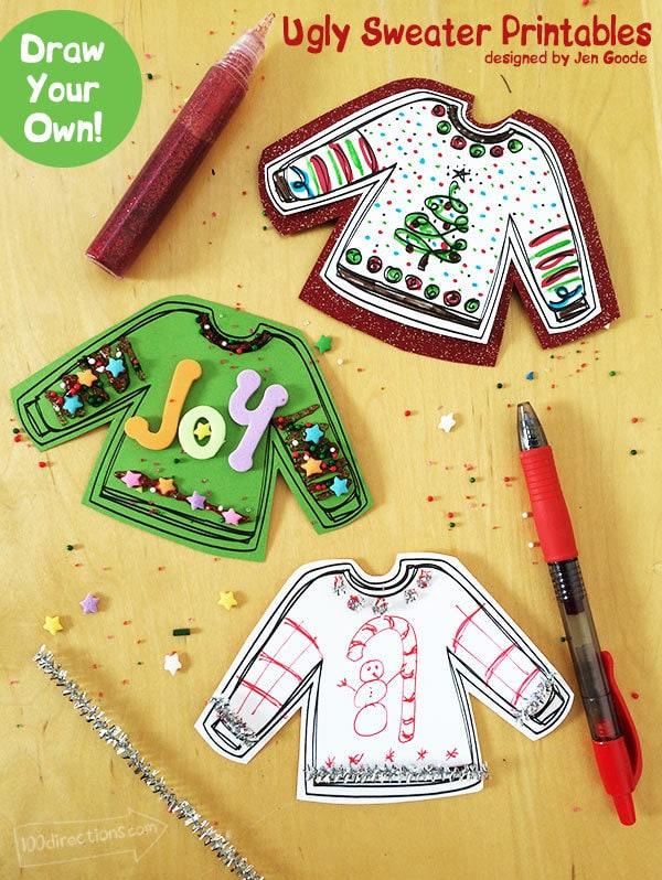 Printable ugly Christmas sweater gift tags