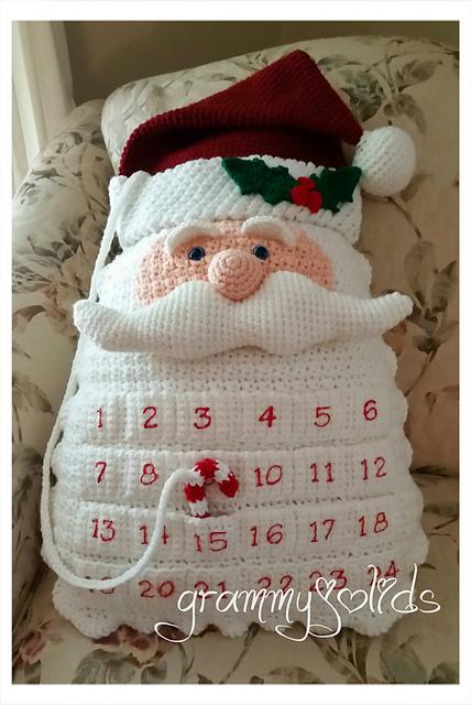 Crochet santa pillow advent calendar
