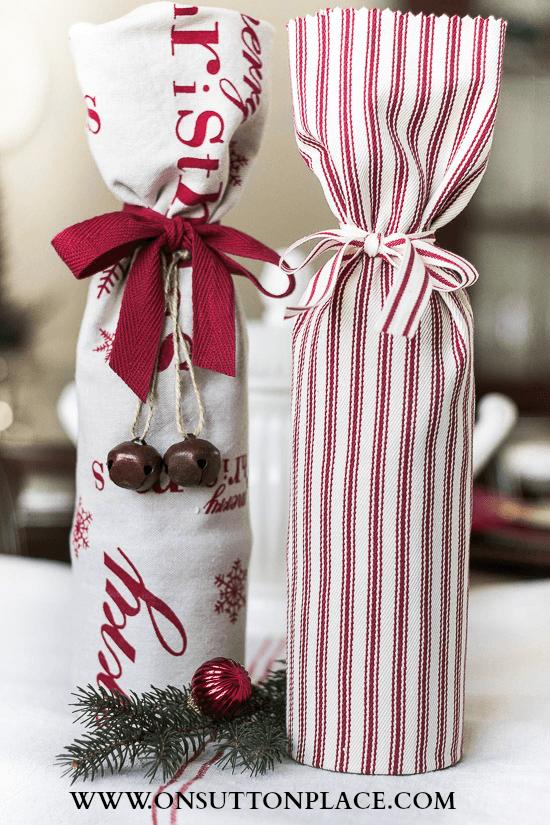 No Sew fabric wine bottle gift wrap