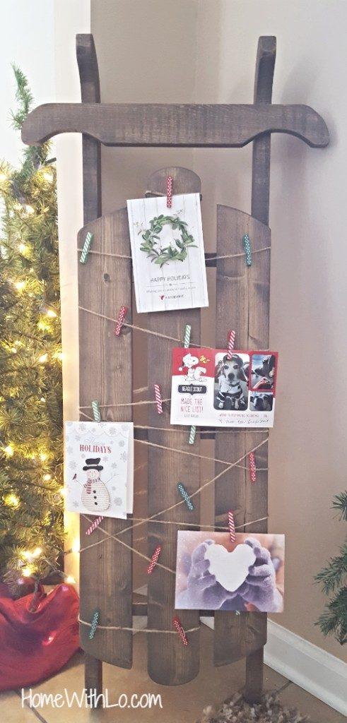 wooden sled Christmas card holder