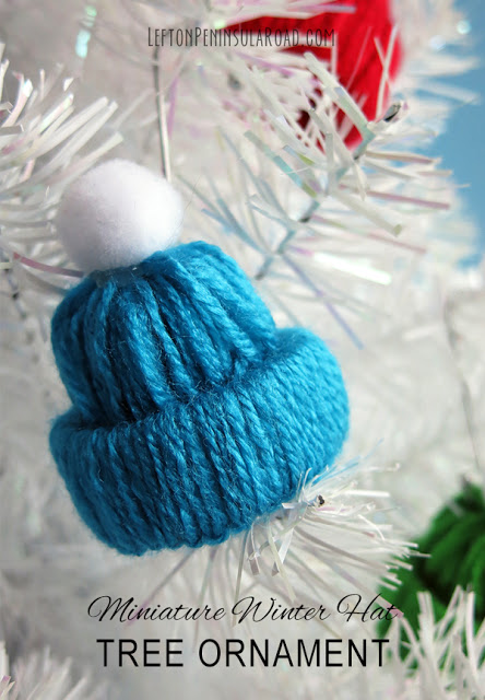 winter hat Christmas ornament made from yarn