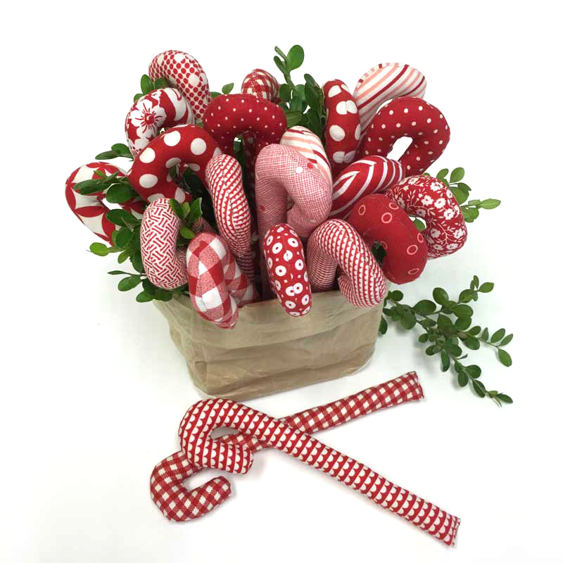 fabric candy cane decorations pattern and instructions.