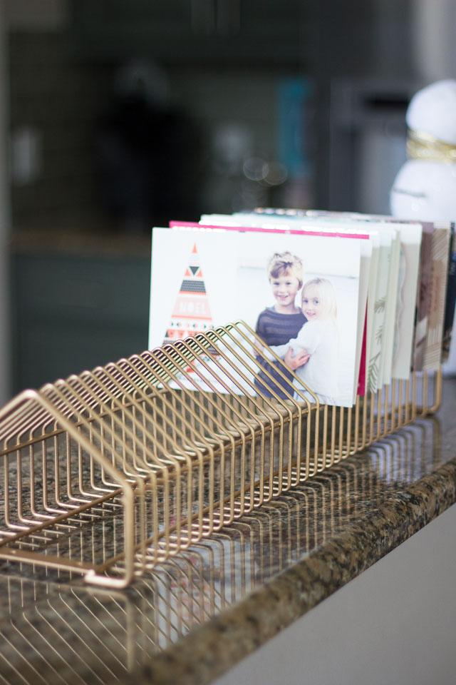 recycled cd rack Christmas card display