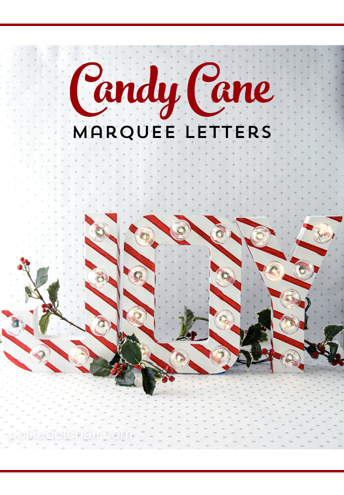 Candy cane striped Christmas marquee letters decorations