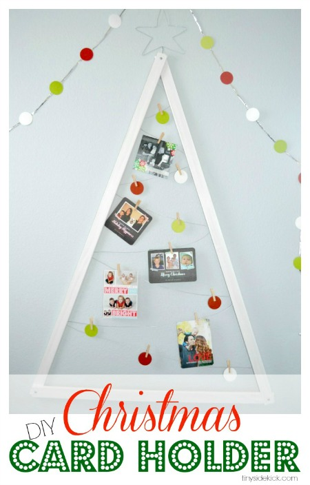 Scrap wood Christmas tree Christmas card display