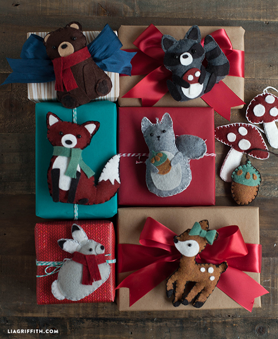 Felt woodland Christmas ornament gift toppers tutorial