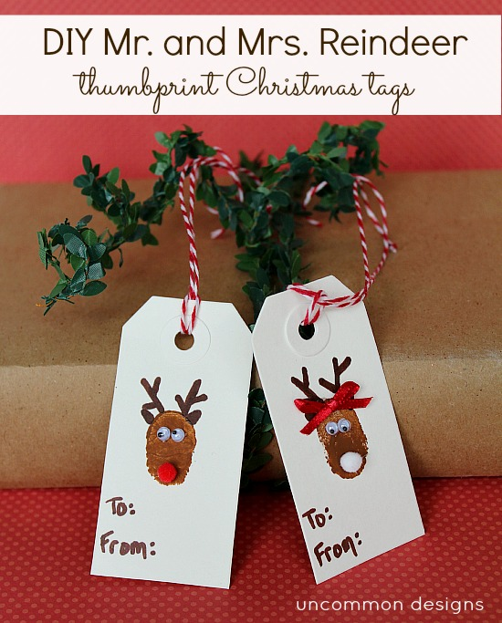 fingerprint Christmas reindeer gift tags tutorial