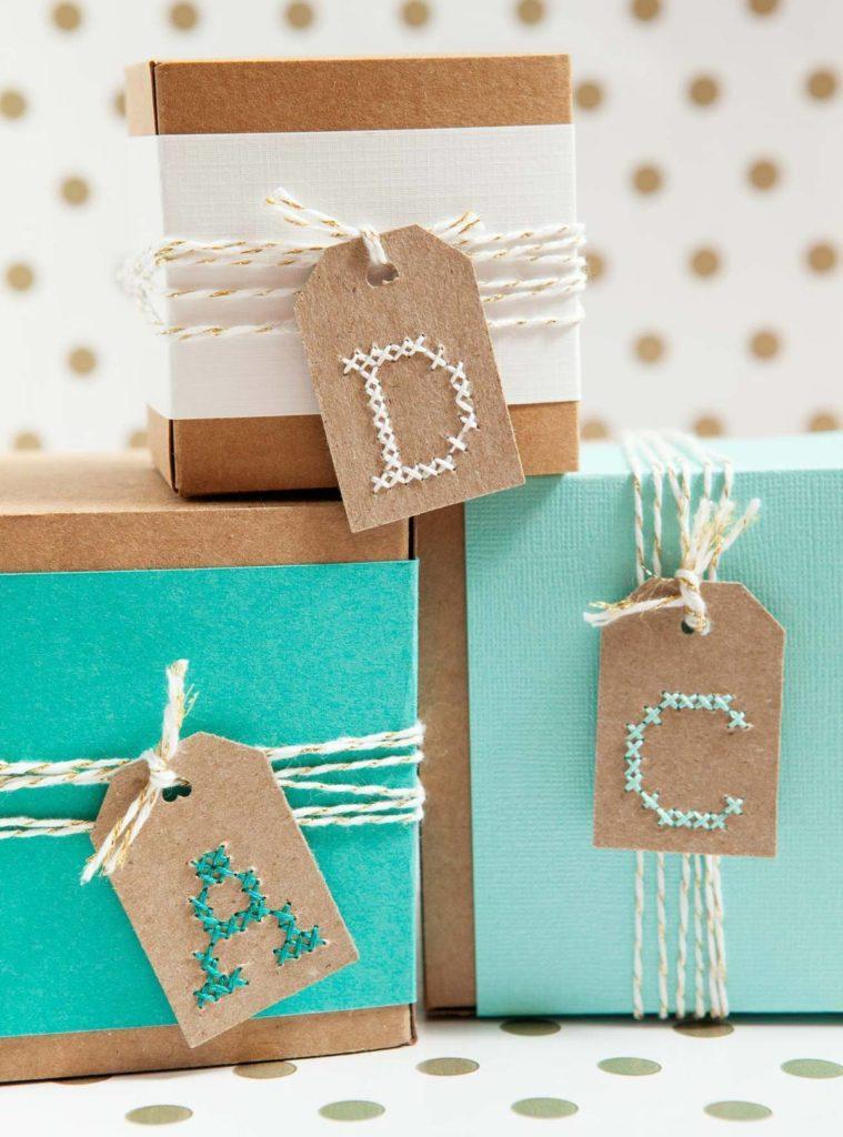 DIY cross stitch gift tags