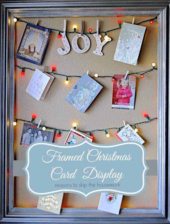 Framed light up Christmas card display