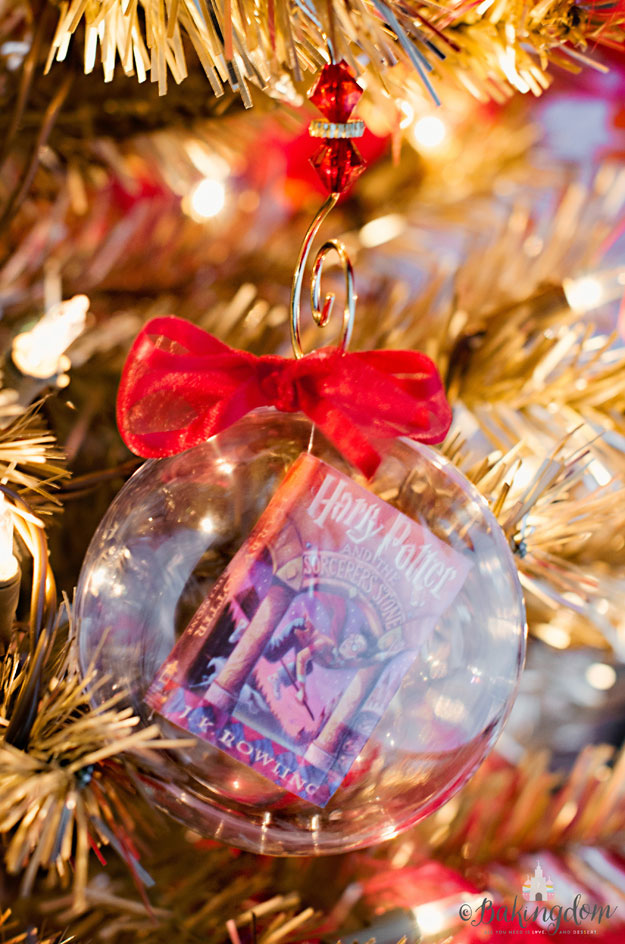 Harry Potter Book in a Glass Christmas Ornament tutorial