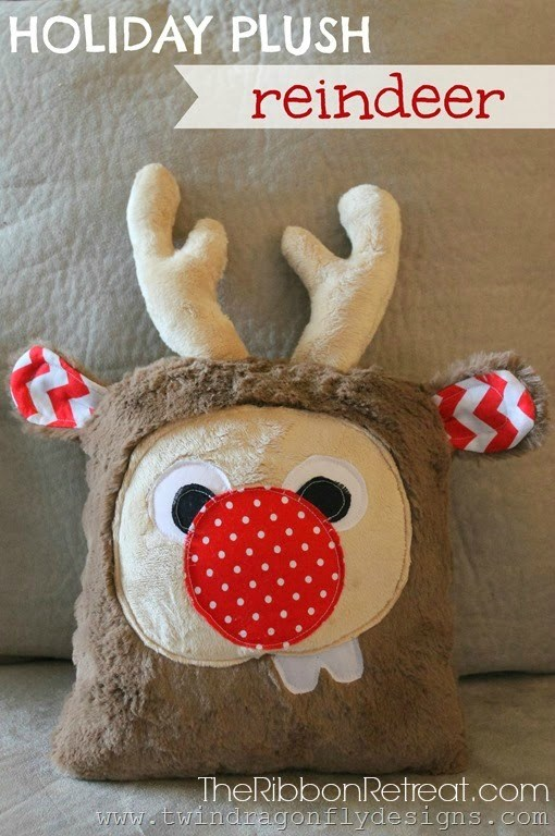plush rudolph reindeer pillow tutorial