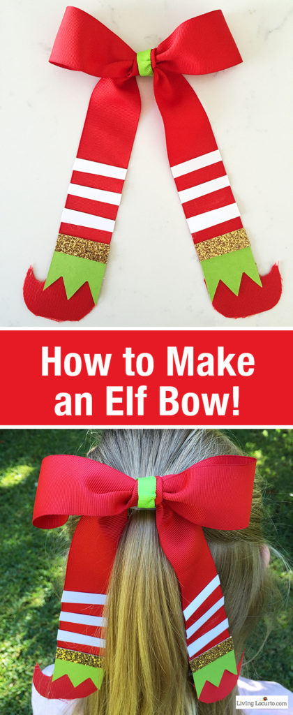 Elf hair bow tutorial for Christmas