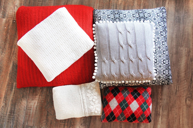 Turn old sweaters into knit Christmas pillows