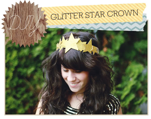 sparkling paper star crown for New Year's Eve