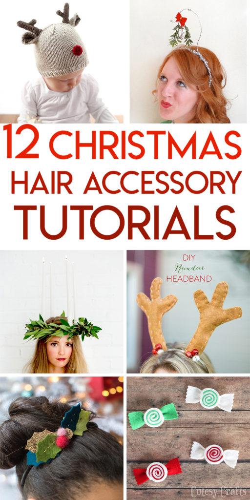 12 Christmas hair accessory and hat tutorials