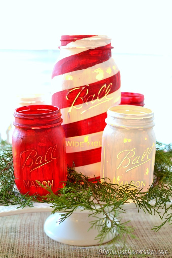 Chalky paint mason jar candy cane inspired candle holder centerpiece tutorial