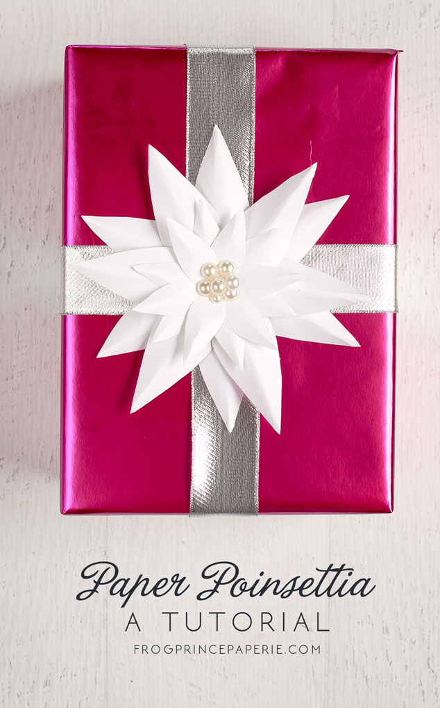 paper poinsettia gift wrapping tutorial