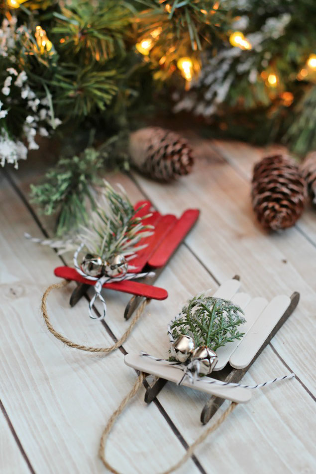 popsicle stick sled Christmas ornament tutorial
