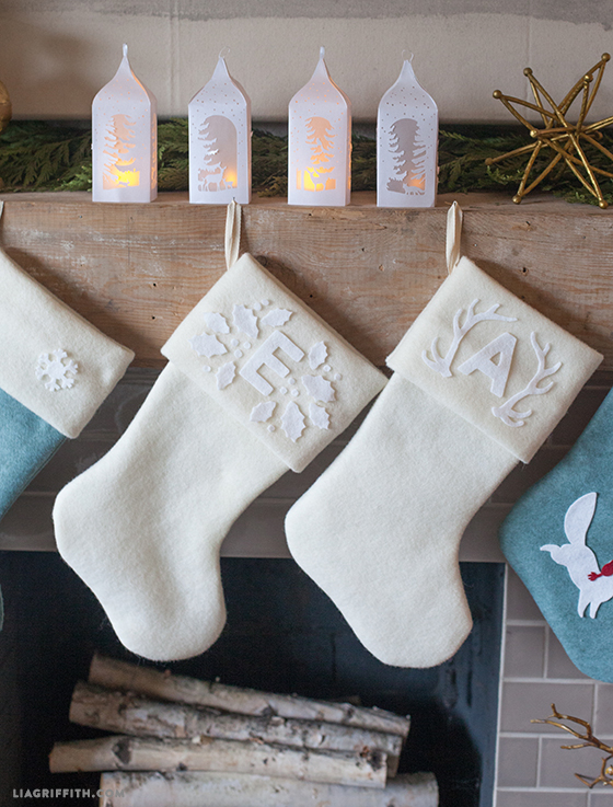 Monochromatic white felt monogram Christmas stocking tutorial