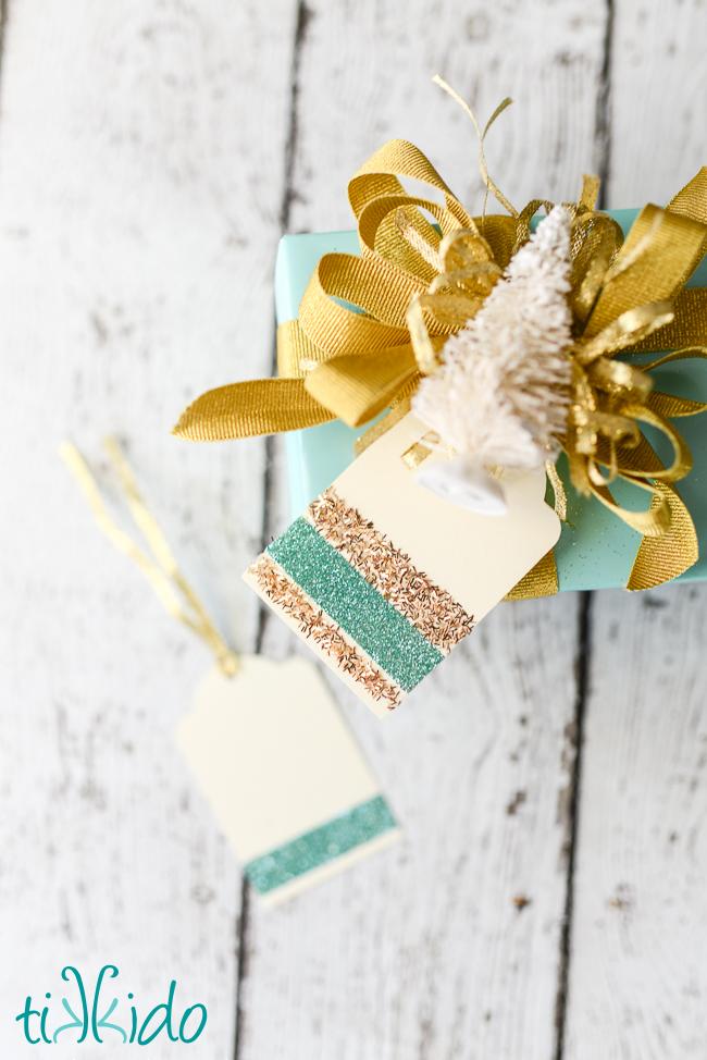 DIY glitter striped Christmas gift tag tutorial