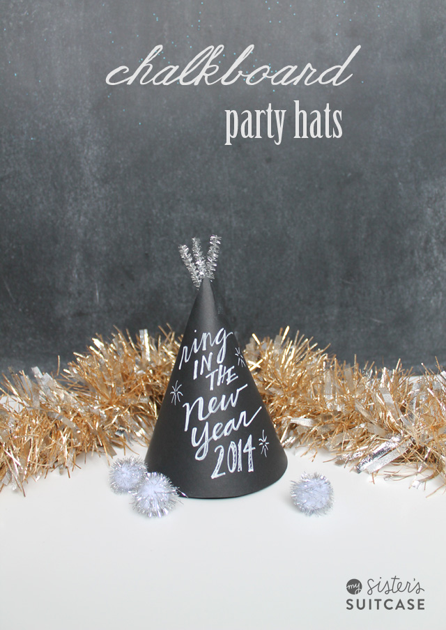chalkboard DIY New Year's Eve party hats tutorial