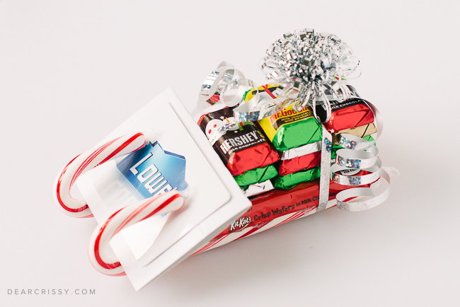 Candy sled gift card holder for Christmas