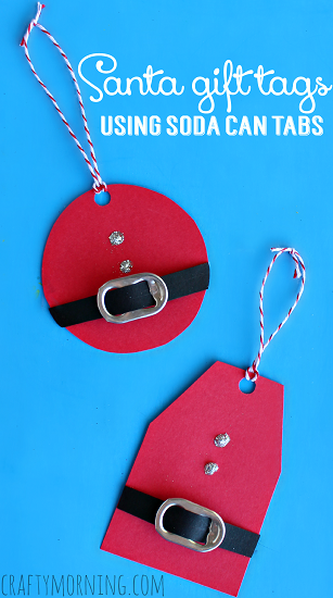 recycle soda tabs to make these darling Christmas santa suit gift tags.