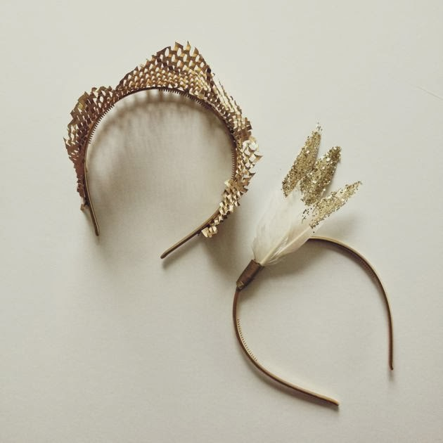 glittery feather headband for New Year's Eve